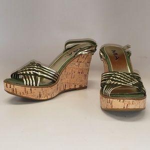 MIA 'Paradise' Leather Wedge Sandals